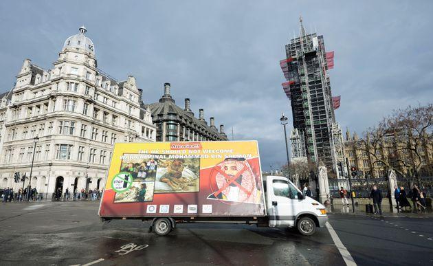 Protestors' vans objecting to the Saudi