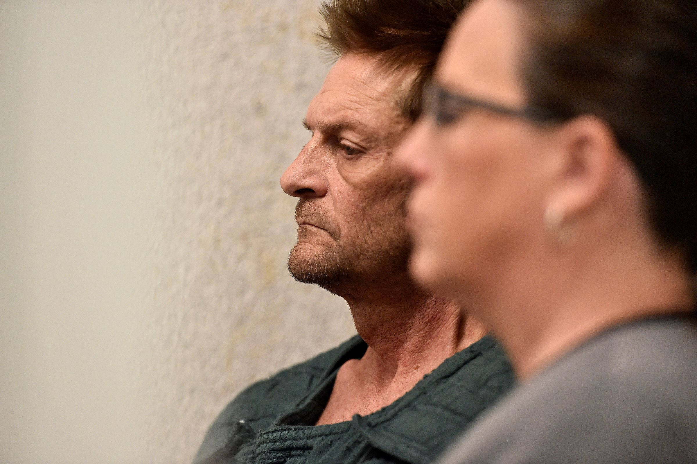 Adam Purinton, 51, accused of killing Srinivas Kuchibhotla, 32, and wounding Alok Madasani, 32, as well as an American who tried to intervene, appears with his public defender Michelle R. Durrett (R) via video conference from jail during his initial court appearance in Olathe, Kansas, U.S., February 27, 2017.   REUTERS/Jill Toyoshiba/The Kansas City Star/Pool