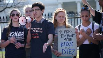 WASHINGTON, DC - FEBRUARY 21:  Students participate in a protest against gun violence February 21, 2018 outside the White House in Washington, DC. Hundreds of students from a number of Maryland and DC schools walked out of their classrooms and made a trip to the U.S. Capitol and the White House to call for gun legislation, one week after 17 were killed in the latest mass school shooting at Marjory Stoneman Douglas High School in Parkland, Florida.  (Photo by Alex Wong/Getty Images)