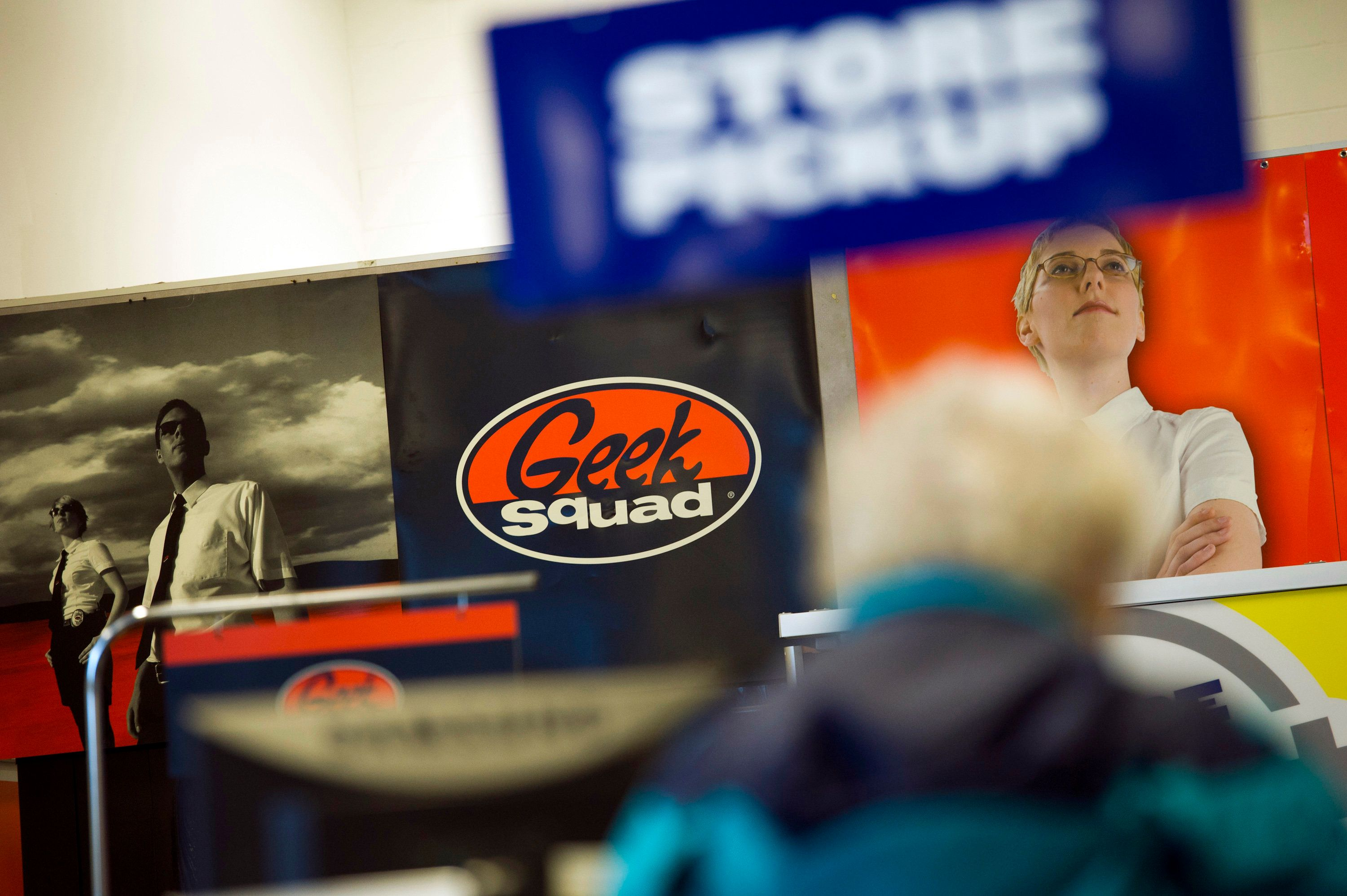 A Geek Squad advertisement is displayed inside a Best Buy Co. store in Emeryville, California, U.S., on Tuesday, March 27, 2012. Best Buy Co., the electronics, appliance and entertainment retailer, is expected to release quarterly earnings on March 29. Photographer: David Paul Morris/Bloomberg via Getty Images