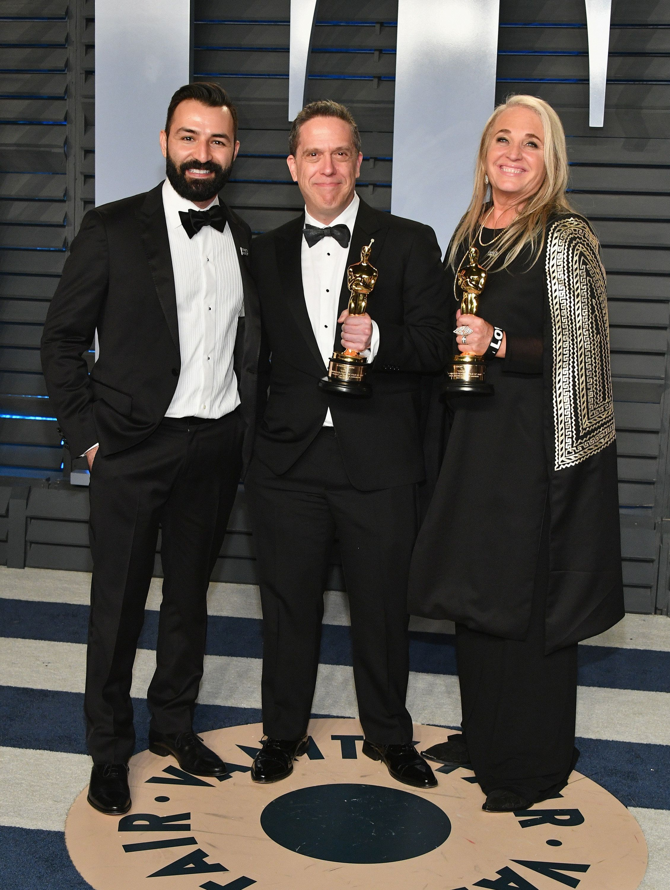 BEVERLY HILLS, CA - MARCH 04:  (L-R) Adrian Molina, Lee Unkrich and Darla K. Anderson attend the 2018 Vanity Fair Oscar Party hosted by Radhika Jones at Wallis Annenberg Center for the Performing Arts on March 4, 2018 in Beverly Hills, California.  (Photo by Dia Dipasupil/Getty Images)