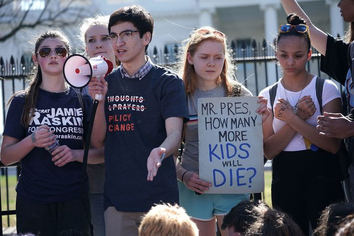 Students participate in a protest against gun violence outside the White House on Feb. 21, 2018.