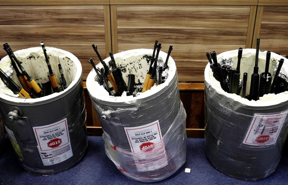 Weapons smuggled in hollowed-out pool water heaters are seizedat Rio de Janeiro's international...