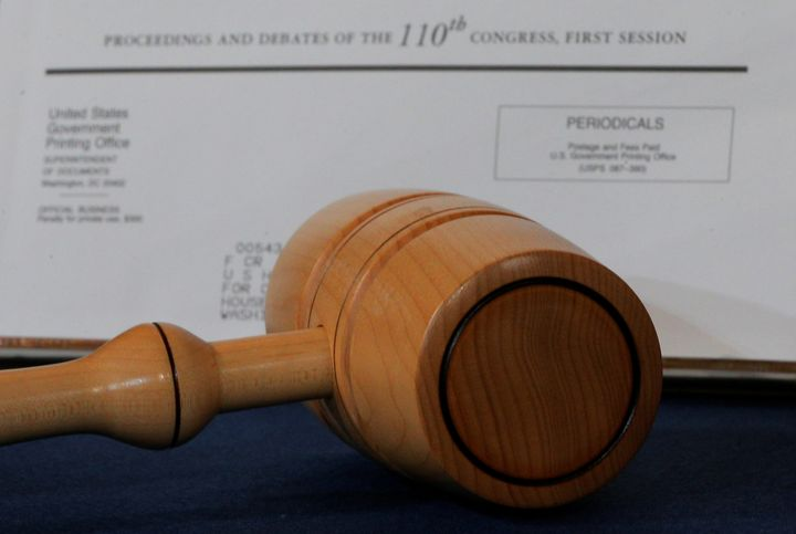 The gavel used by House Democratic leader Nancy Pelosi when she became the first female speaker of the U.S. House of Represen