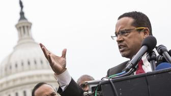 WASHINGTON, USA - FEBRUARY 1: Congressman Keith Ellison, the first Muslim elected to the the U.S. Congress, speaks out against President Trump and his Executive Order banning travel from seven majority muslim countries at the U.S. Capitol in Washington, USA on February 1, 2017. (Photo by Samuel Corum/Anadolu Agency/Getty Images)