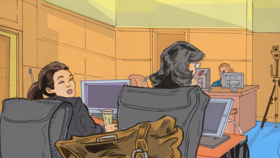 In a court sketch, Noor Salman is shown with her defense attorney Linda Moreno.