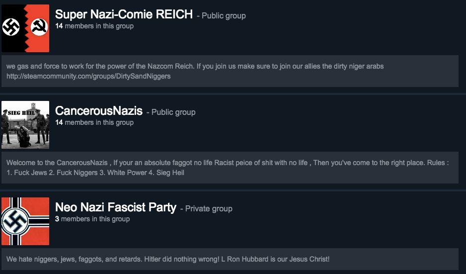 Steam groups with neo-Nazi names.
