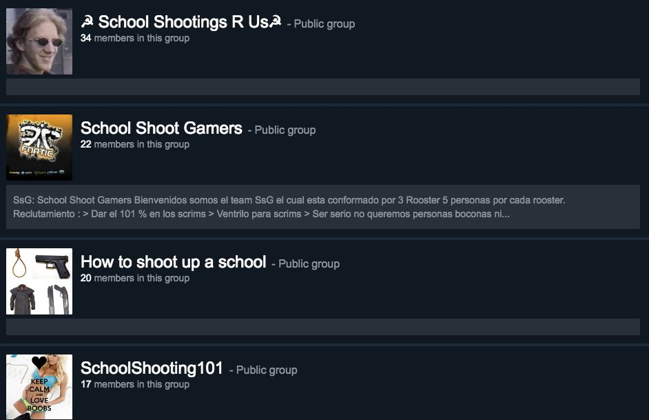 Steam groups with names that seem to promote school shootings.