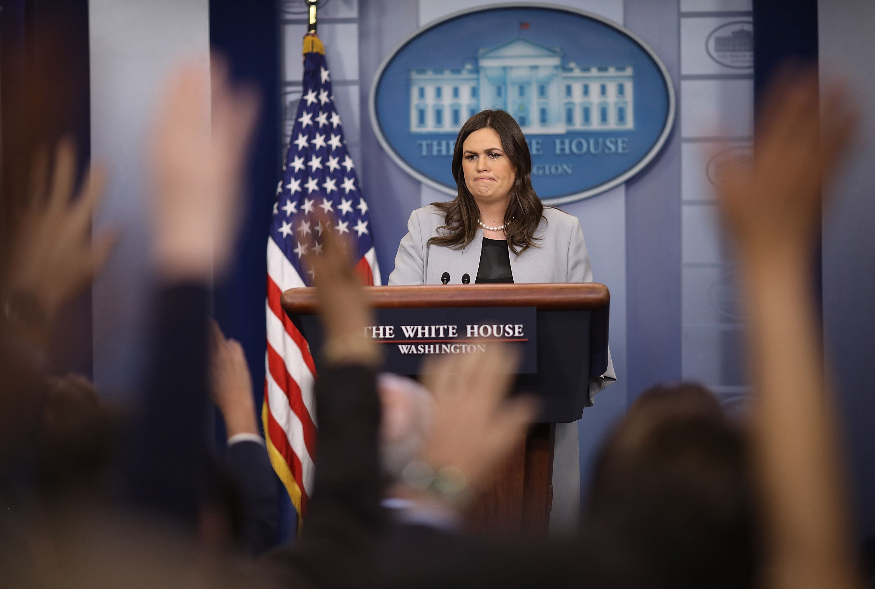 WASHINGTON, DC - MARCH 07:  White House Press Secretary Sarah Huckabee Sanders answers questions during a briefing at the White House on March 7, 2018 in Washington, DC. Sanders answered a range of questions related to recently announced trade tariffs, allegations by porn star Stormy Daniels and continued resignations by members of the White House staff.  (Photo by Win McNamee/Getty Images)