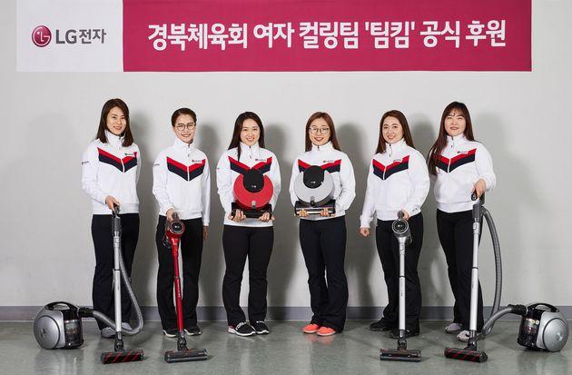 여자 컬링 국가대표팀이 '의성마늘햄' 모델