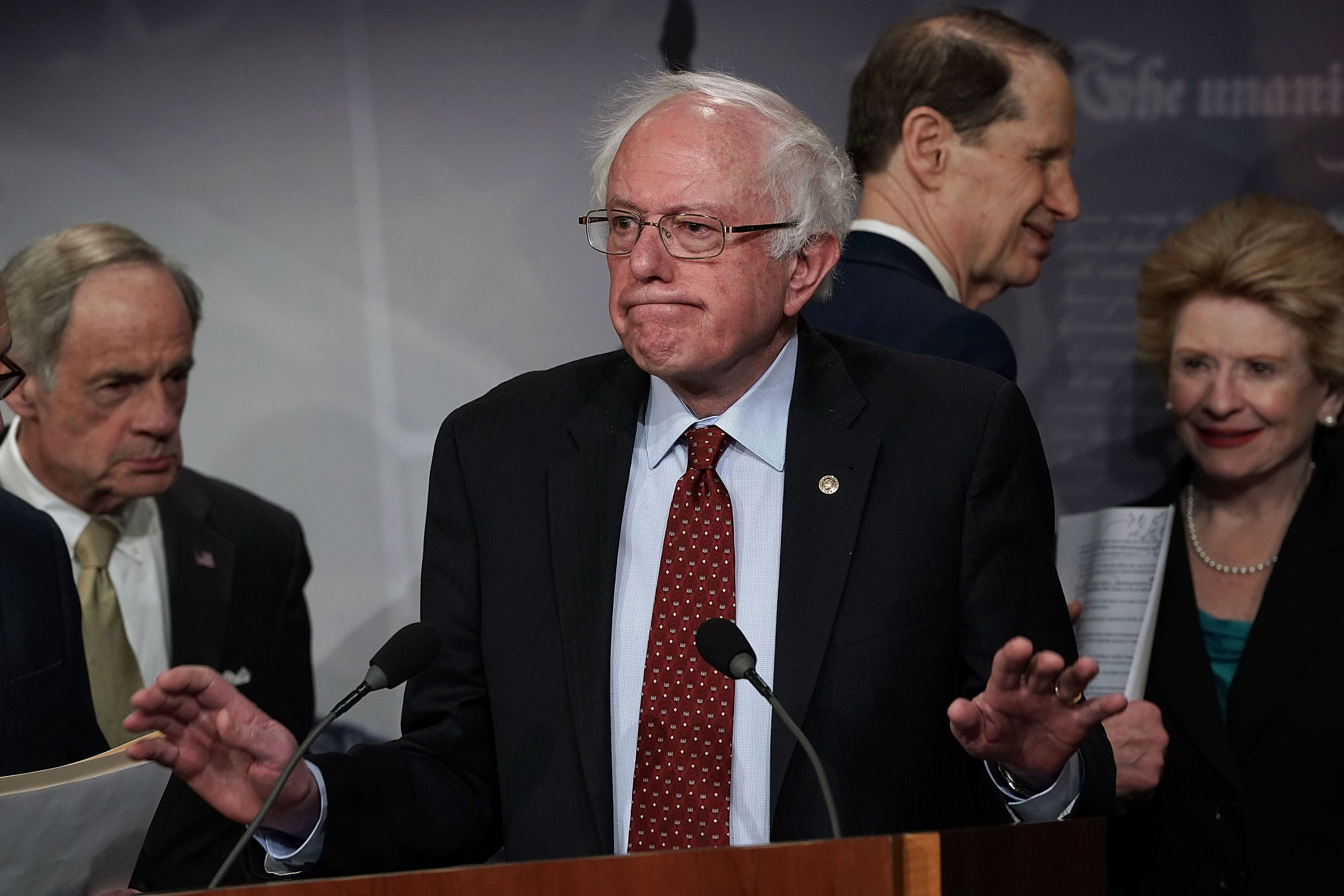 Sen. Bernie Sanders (I-Vt.) speaks at a March 7news conferencein which Senate Democrats introduced their $1 trill
