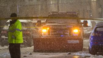 BOSTON, MA - MARCH 08:  Boston Police investigate the scene where a snow plow ranover a woman near Tuft's Medical Center as another major nor'easter barrels Into northeastern U.S. on March 8, 2018 in Boston, United States. Large portions of the East Coast are facing a second nor'easter in less than a week. (Photo by Scott Eisen/Getty Images)