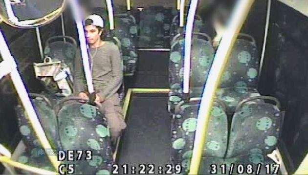 Handout CCTV image dated 31/8/2017 issued by Metropolitan Police of Ahmed Hassan on a 216 bus on his...