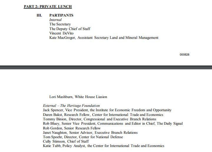 "A list of Interior Department officials who attended a private lunch following the Heritage Foundation's ""A Vision for A"