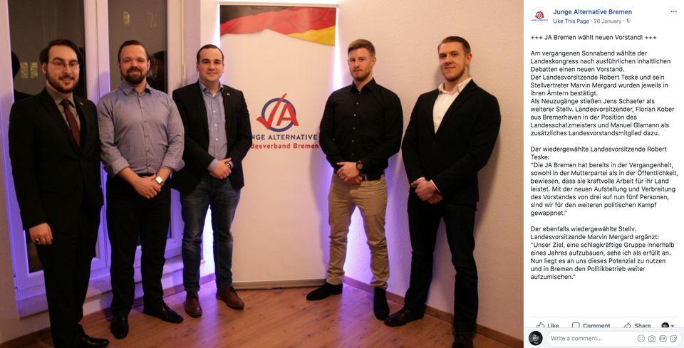 Der Bremer JA-Vorstand – darunter Marvin Mergard (links) und Robert Teske