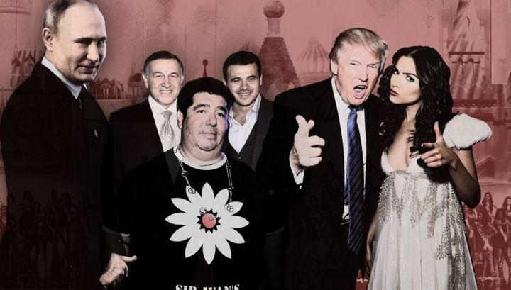 From left, Russian President Vladimir Putin, Aras Agalarov, Rob Goldstone, Emin Agalarov, Donald Trump and Olivia Culpo.&nbsp