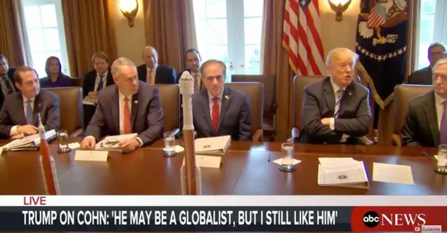 President Donald Trump at a cabinet meeting on Thursday called Gary Cohn a globalist, but added: