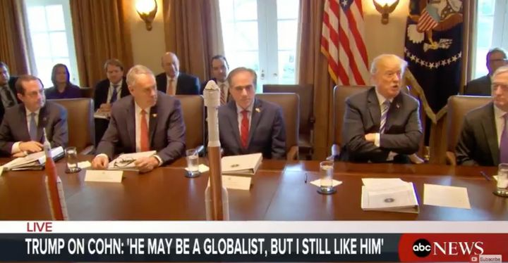 "President Donald Trump at a cabinet meeting on Thursday called Gary Cohn a globalist, but added: ""I still like him."""