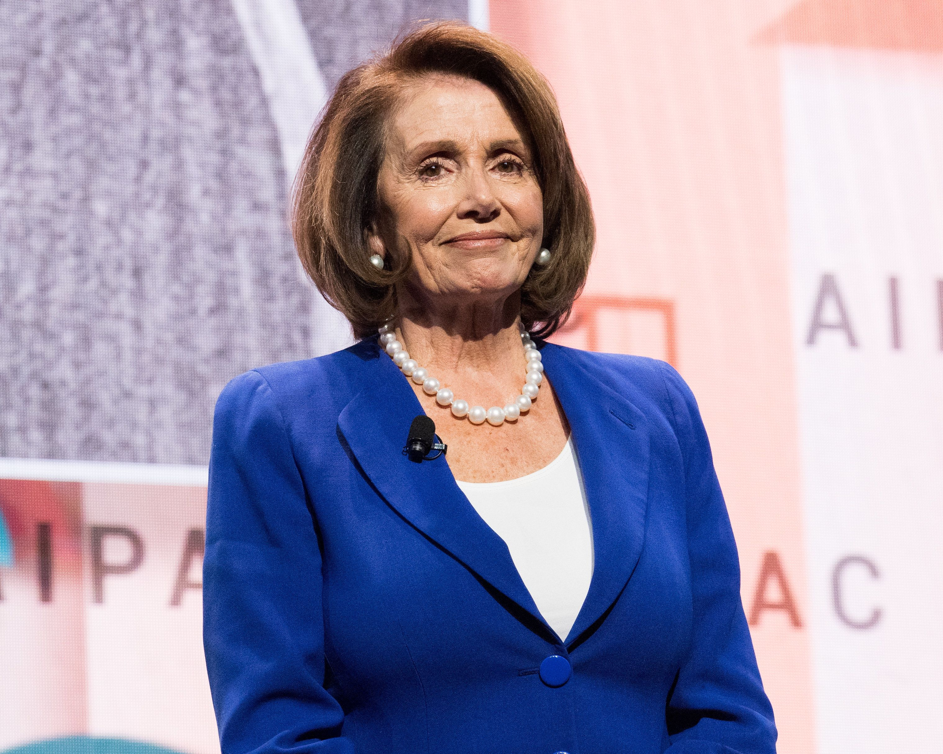 WASHINGTON, DC, UNITED STATES - 2018/03/05: Nancy Pelosi, Minority Leader (D) of the United States House of Representatives, speaking at the AIPAC (American Israel Public Affairs Committee) Policy Conference at the Walter E. Washington Convention Center. (Photo by Michael Brochstein/SOPA Images/LightRocket via Getty Images)