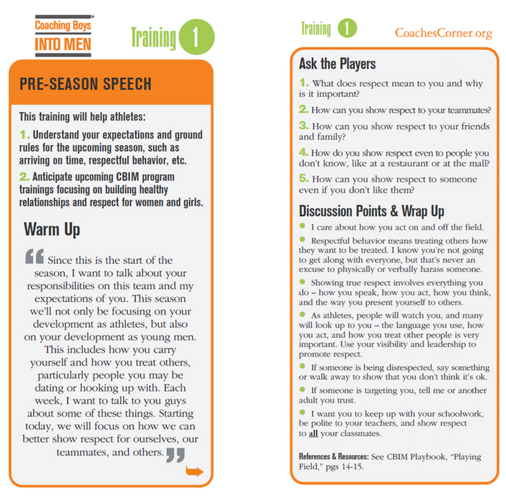 Coaching Boys Into Men lesson card for coaches. Contributed by