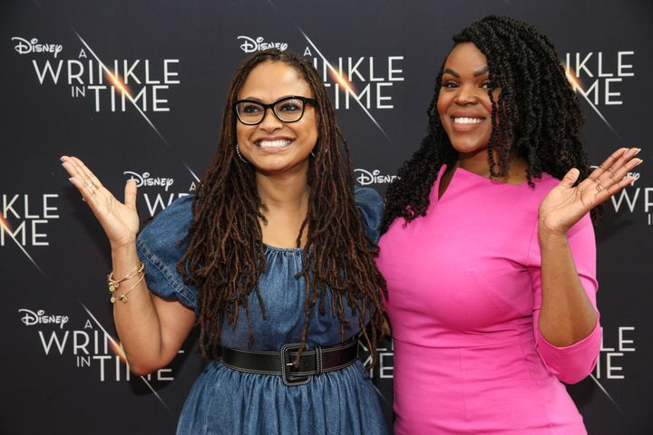 "Director Ava DuVernay, left, is seen with Brown at a screening of DuVernay's film ""A Wrinkle In Time"" earlier this month"