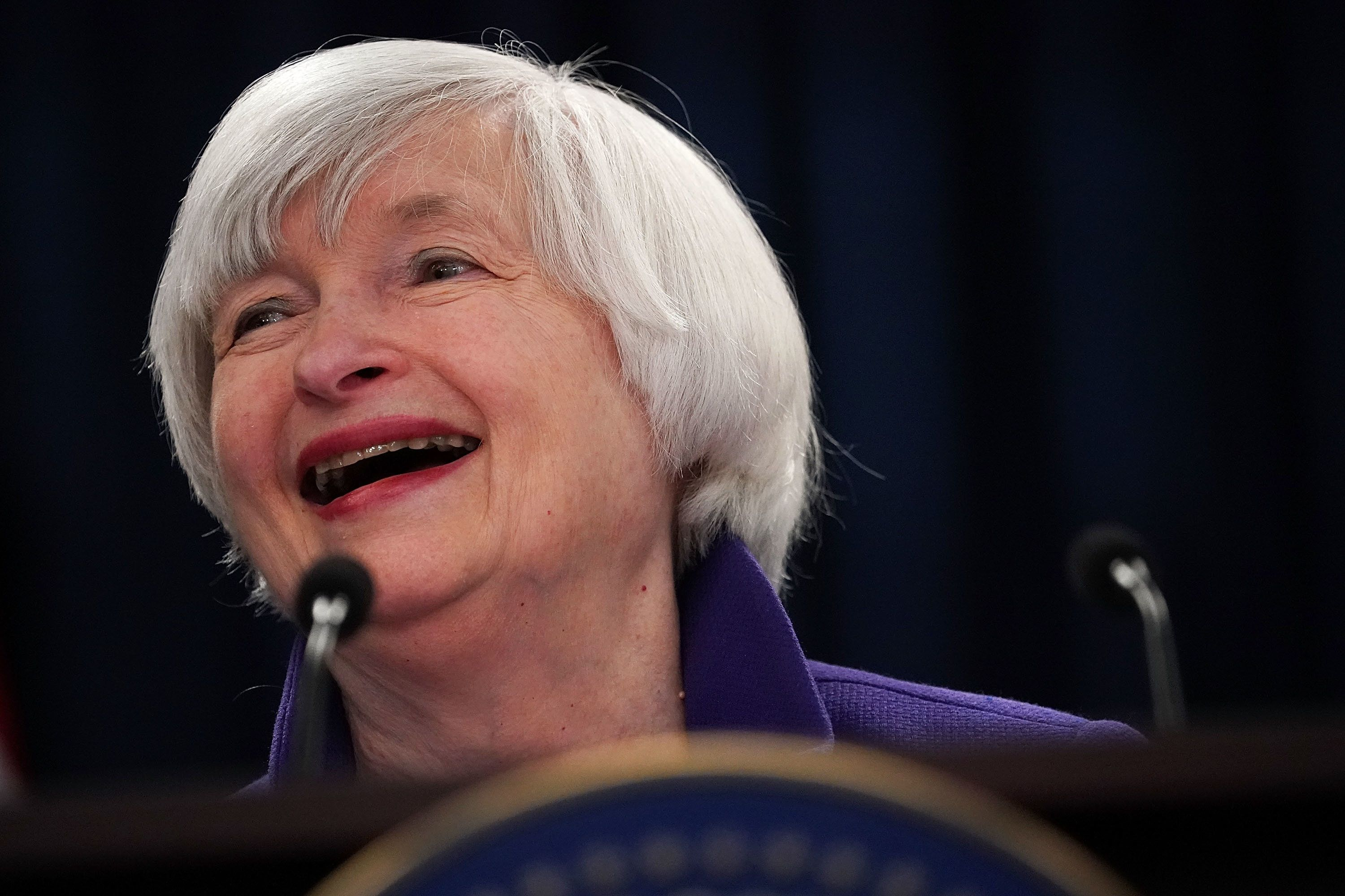 WASHINGTON, DC - DECEMBER 13:  Federal Reserve Chair Janet Yellen laughes during a news conference December 13, 2017 in Washington, DC. Yellen announced that the Federal Reserve is raising the interest rates by a quarter point to 1.5%.  (Photo by Alex Wong/Getty Images)