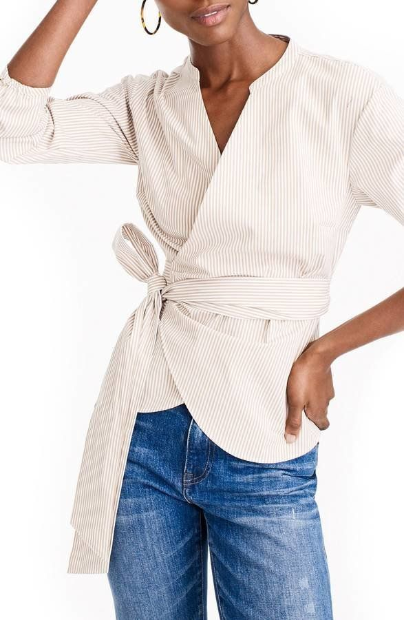 "Get it <a href=""https://shop.nordstrom.com/s/j-crew-stretch-cotton-stripe-wrap-top/4881889?origin=category-personalizedsort&a"