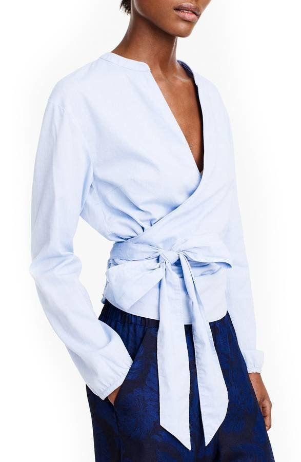 "Get it <a href=""https://shop.nordstrom.com/s/j-crew-sara-oxford-wrap-top/4881821?origin=category-personalizedsort&fashion"