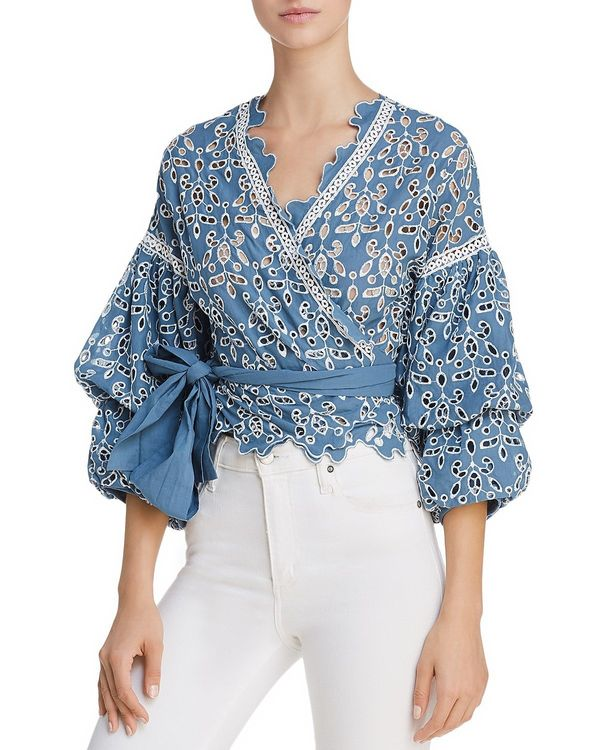 """Get it <a href=""""https://www.bloomingdales.com/shop/product/saylor-eyelet-lace-wrap-top?ID=2804334&CategoryID=2910&lin"""