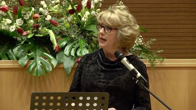 Mary McAleese delivers a keynote address at the Voices of Faith