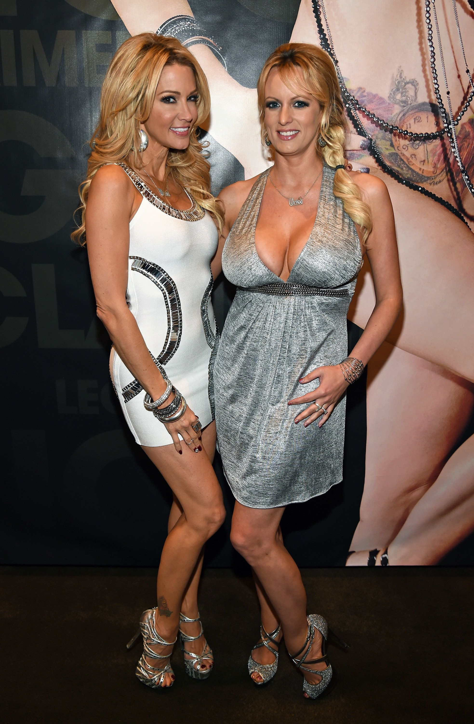 Jessica Drake (left) and Stormy Daniels pose at the Wicked Pictures booth at an adult entertainment expo in Las Vegas in 2015