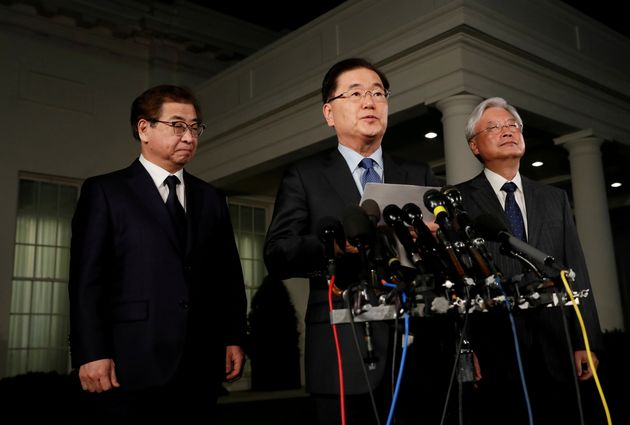 South Korea's national security adviser, Chung Eui-Yong, center, said Thursday that the North Korean...