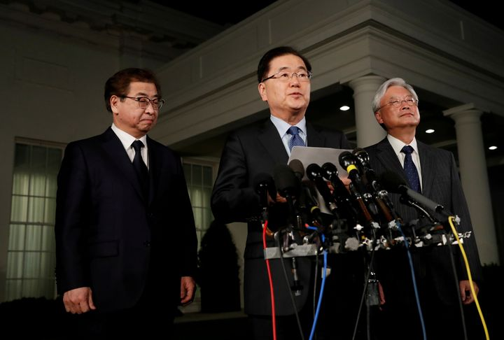 South Korea's national security adviser, Chung Eui-Yong, center, said Thursday that the North Korean leader Kim Jong Un had e