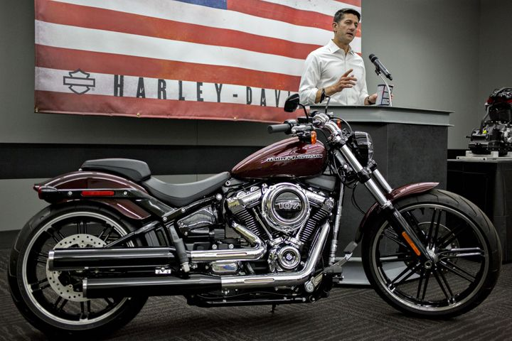 U.S. House Speaker Paul Ryan, a Republican from Wisconsin, speaks during a news conference following a tour of the Harley-Dav