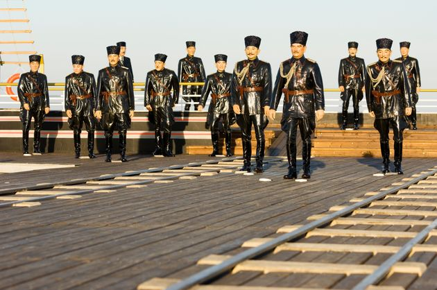 The arrival in Samsun Mustafa Kemal and his friends real size sculpture revived. Samsun city center,...