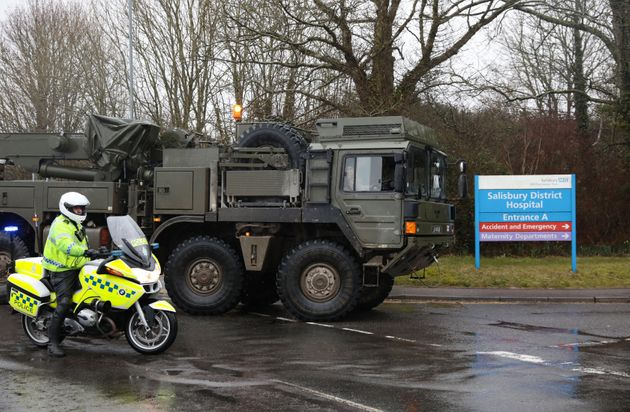 A military convoy arrives at Salisbury District Hospital on Friday