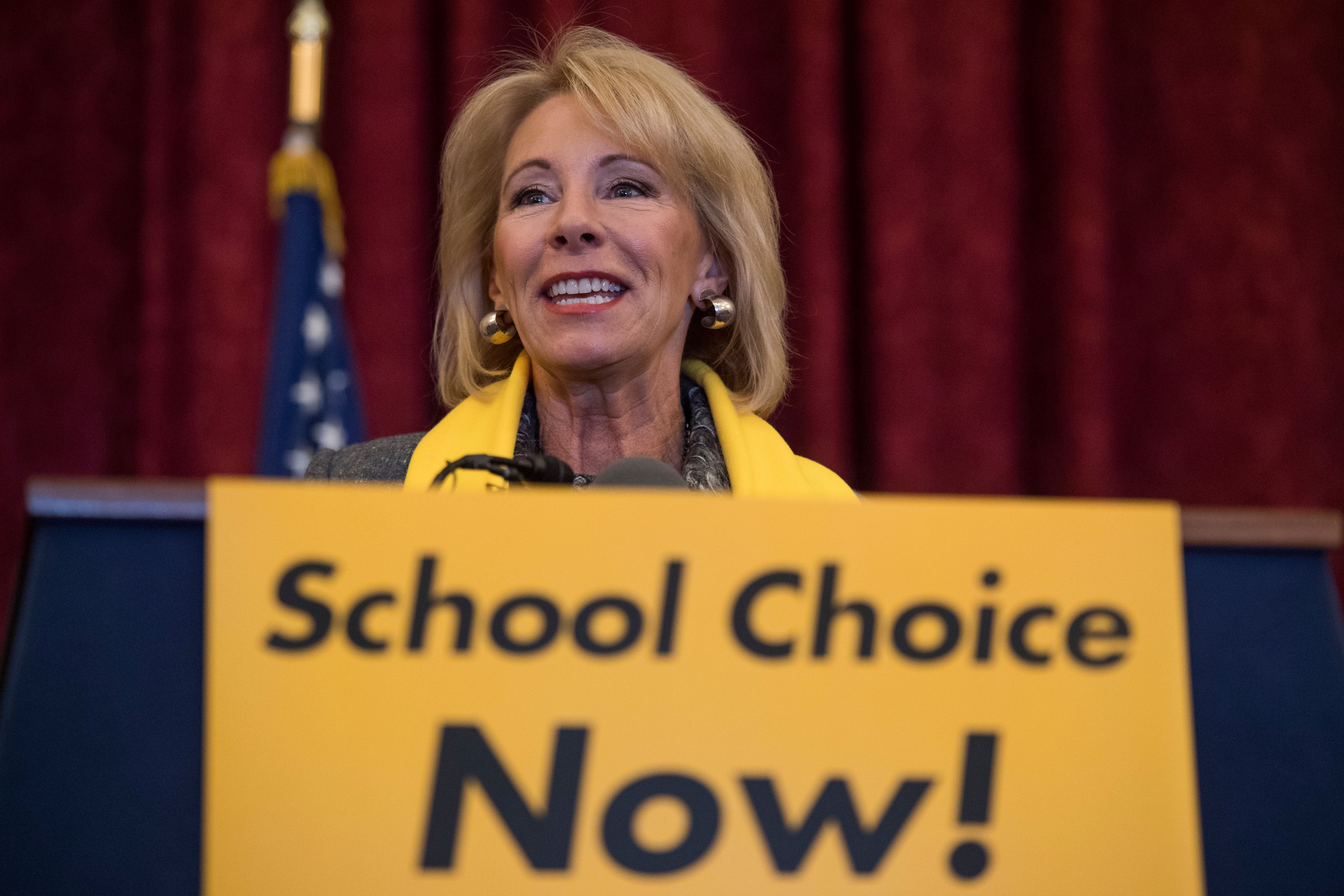 UNITED STATES - JANUARY 18: Education Secretary Betsy DeVos during a rally to promote the importance of school choice as part of 'National School Choice Week,' in Russell Building on January 18, 2018. (Photo By Tom Williams/CQ Roll Call)