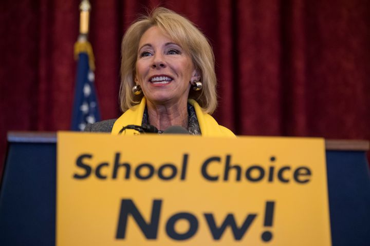 Education Secretary Betsy DeVos during a rally to promote the importance of school choice on Jan. 18 as part of National Scho