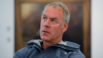 U.S. Interior Secretary Ryan Zinke is interviewed by Reuters, while traveling for his National Monuments Review process, in Boston, Massachusetts, U.S., June 16, 2017.  Picture taken June 16, 2017.   REUTERS/Brian Snyder
