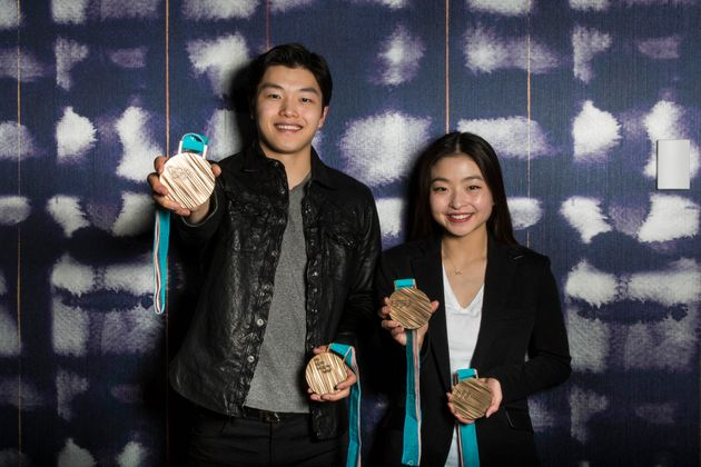 Alex and Maia Shibutani with their bronze medals from the Winter Games in Pyeongchang, South