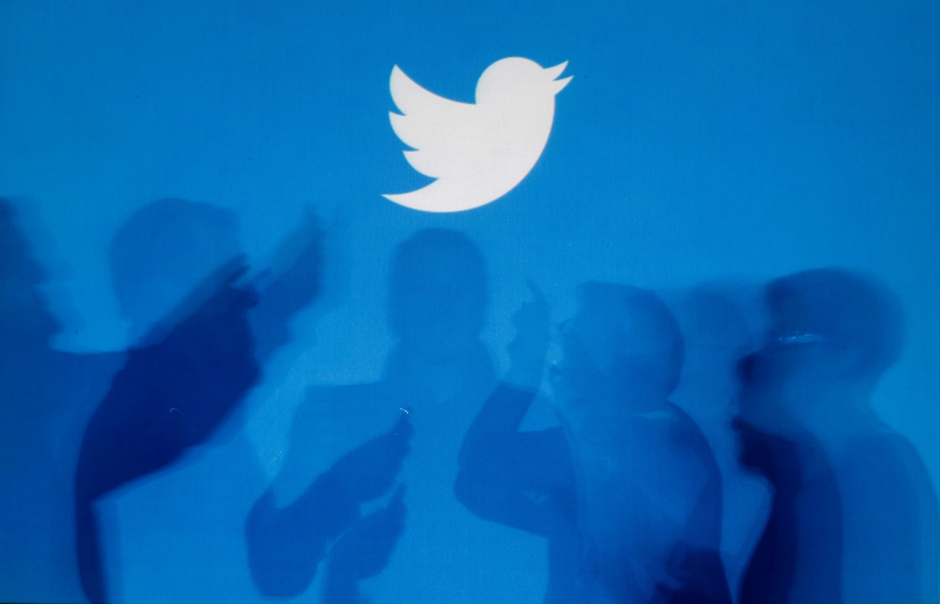 The shadows of people holding mobile phones are cast onto a backdrop projected with the Twitter logo in this illustration picture taken in  Warsaw September 27, 2013. Twitter Inc, the eight-year-old online messaging service, gave potential investors their first glance at its financials on Thursday when it publicly filed its IPO documents, setting the stage for one of the most-anticipated debuts in over a year. Picture taken September 27.  REUTERS/Kacper Pempel (POLAND - Tags: BUSINESS TELECOMS LOGO)