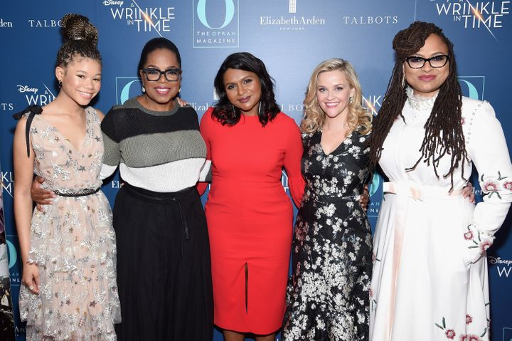"Storm Reid, Oprah Winfrey, Mindy Kaling, Reese Witherspoon and Ava DuVernay at a March 7 screening of ""A Wrinkle In Time"