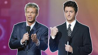 "Ryan Seacrest and Brian Dunkleman at FOX-TV's ""American Idol"" finale at the Kodak Theatre in Hollywood, Ca. Wednesday, Sept. 4, 2002. Photo  by Kevin Winter/ImageDirect"