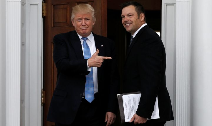 Donald Trump with Kansas Secretary of State Kris Kobach before a meeting on alleged voter fraud on Nov. 20, 2016. Trump