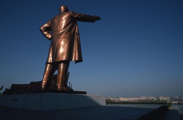 The Grand Monument, a bronze statue of Kim Il Sung, on Mansu Hill in