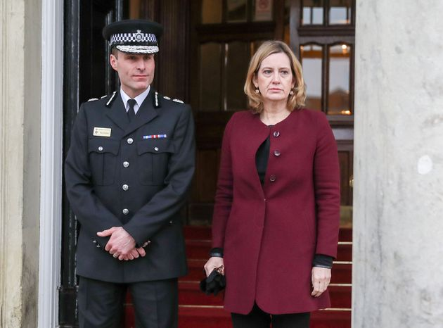 Home Secretary Amber Rudd (right) and Wiltshire Police Chief Constable Kier Pritchard in Salisbury.