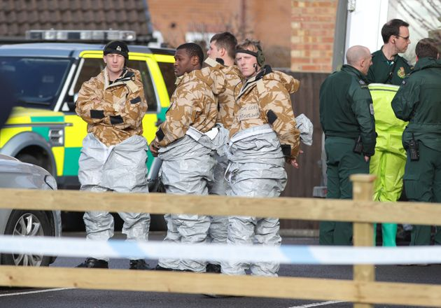 Military personnel at the South Western Ambulance Service station in Harnham, near Salisbury, as police and members of the armed forces probe the suspected nerve agent attack on Russian double agent Sergei Skripal.