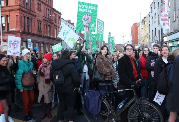 People gather in Dublin's Parnell Square on March 8 to call for the repeal of the eighth