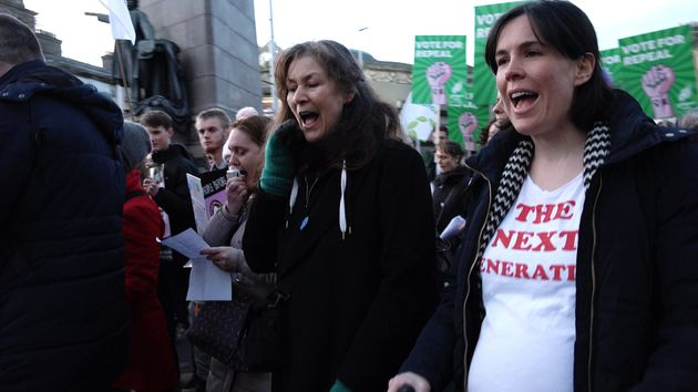 A pregnant woman cries out in support of repealing the eighth