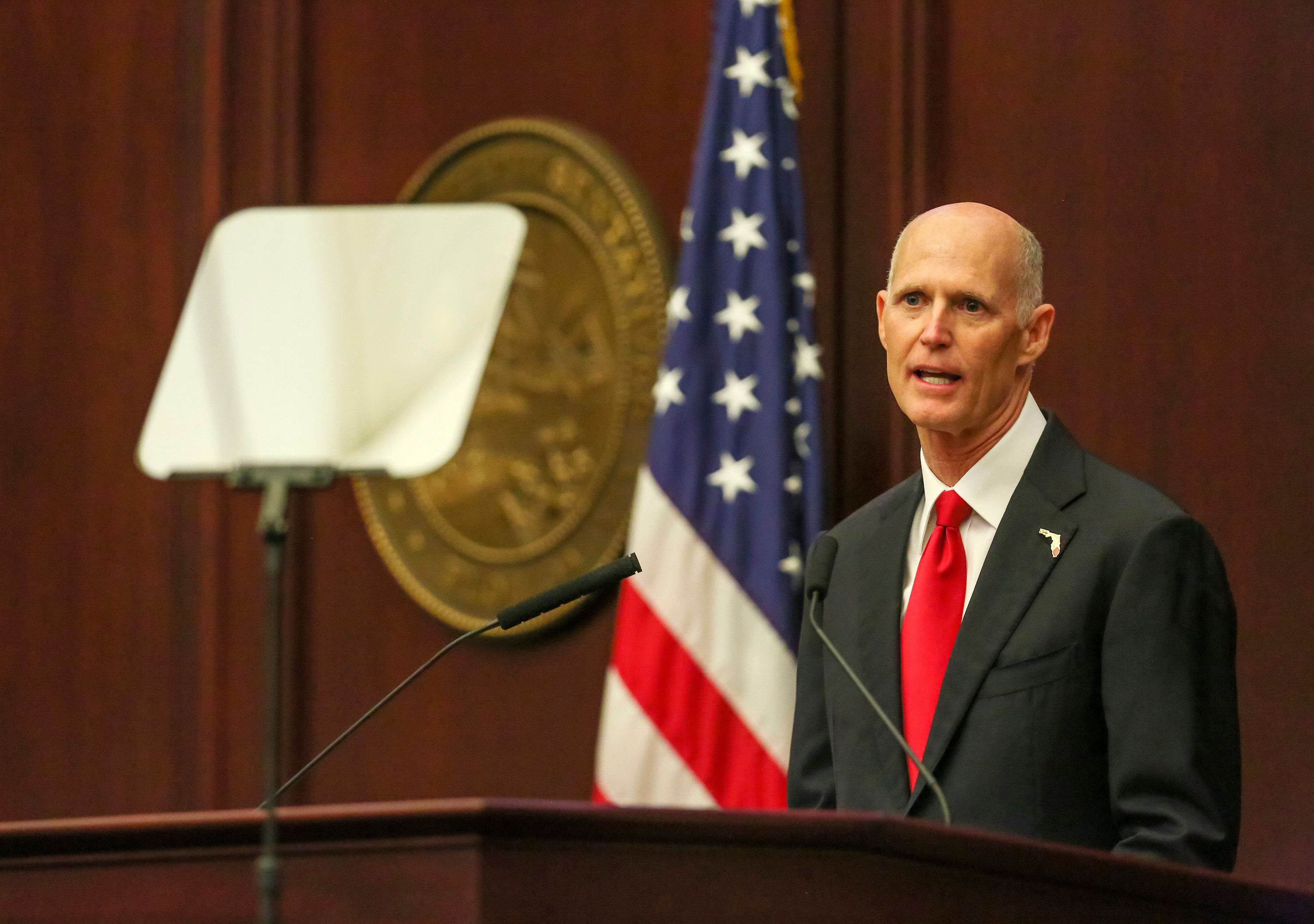 Florida Governor Rick Scott gives his State of the State speech in the Florida House of Representatives chamber during the opening of the 2017 Florida Legislative Session on Tuesday, March 7, 2017 in Tallahassee, Fla. (Jacob Langston/Orlando Sentinel/TNS via Getty Images)